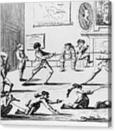 British Officers: Cartoon. English Cartoon Satire, 1777, On The Want Of Training Of British Officers To Prepare Them For The American War Canvas Print