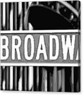 Broadway Sign Color Bw10 Canvas Print