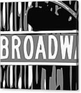 Broadway Sign Color Bw3 Canvas Print