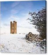 Broadway Tower In Winter Snow Canvas Print