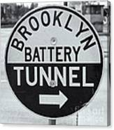 Brooklyn-battery Tunnel Sign I Canvas Print