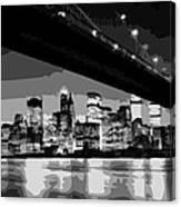 Brooklyn Bridge @ Night Bw8 Canvas Print