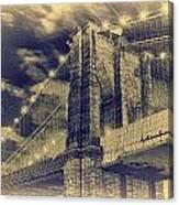 Brooklyn Bridge At Night - Blue Daguerreotype Canvas Print