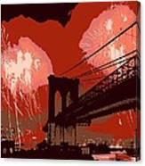 Brooklyn Bridge Fireworks Color 6 Canvas Print
