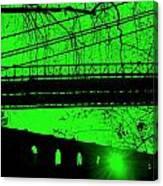 Brooklyn Bridge In Green Canvas Print