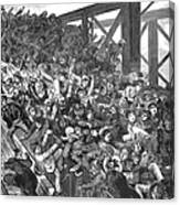 Brooklyn Bridge Panic 1883 Canvas Print