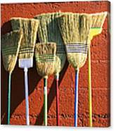 Brooms Leaning Against Wall Canvas Print
