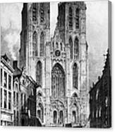 Brussels: Cathedral, 1838 Canvas Print