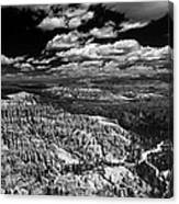 Bryce Canyon Ampitheater - Black And White Canvas Print