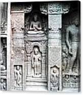 Buddha Carvings At Ajanta Caves Canvas Print