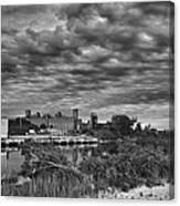 Buffalo Mills Under Clouds Canvas Print