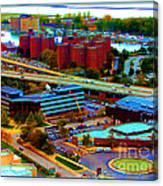 Buffalo New York Aerial View Neon Effect Canvas Print