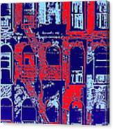 Building Facade In Blue And Red Canvas Print