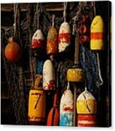 Buoys On Fishing Shack - Greeting Card Canvas Print