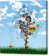 Burger Tree House And The Cupcake Kids  Canvas Print