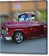 Burgundy Hot Rod Pick Up Abstract Canvas Print