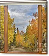 Burning Autumn Aspens Back Country Colorado Window View Canvas Print