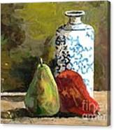 Burnished Pears With Vase Canvas Print