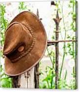 Bush Hat On Railing Canvas Print