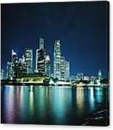 Business District Skyline At Night Canvas Print
