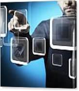 Businessman Touching Screen Button Canvas Print