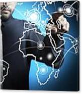 Businessman Touching World Map Screen Canvas Print