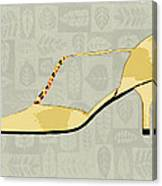 Butter Yellow Leather T Strap Heel Canvas Print