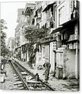 By The Tracks In Hanoi Canvas Print
