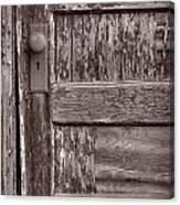 Cabin Door Bw Canvas Print