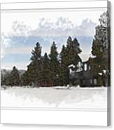 Cabin In Snow With Mountains In Background Canvas Print