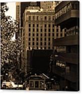 Cablecar On San Francisco California Street . Sepia . 7d7176 Canvas Print