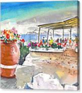 Cafe On Agios Georgios Beach Canvas Print