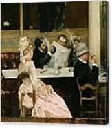 Cafe Scene In Paris Canvas Print
