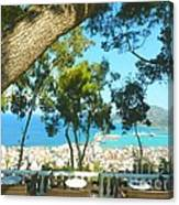 Cafe Terrace At Bohali Overlooking Zante Town Canvas Print