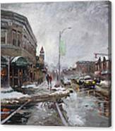 Caffe Aroma In Winter Canvas Print