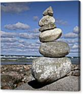 Cairn At North Point On Leelanau Peninsula In Michigan Canvas Print