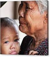 Cambodian Grandmother And Baby #1 Canvas Print