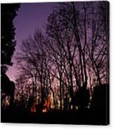Camp Fire Sunset Canvas Print