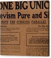 Canada: One Big Union, 1919 Canvas Print
