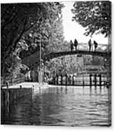 Canal Of St. Martin Bw Canvas Print