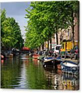 Canal Scene In Amsterdam Canvas Print