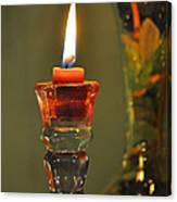 Candle And Colored Glass Canvas Print