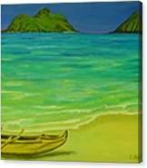 Canoe At Lanikai Beach Canvas Print