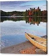 Canoe On A Shore Autumn Nature Scenery Canvas Print