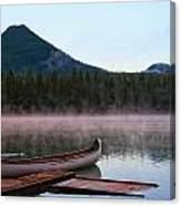 Canoe Waiting Jasper National Park Canvas Print