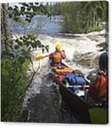 Canoeists Run A Rapid On The Winisk Canvas Print