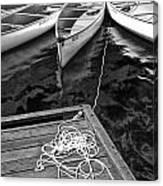 Canoes Docked At Lost Lake Canvas Print