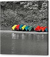 Canoes In A Row Canvas Print