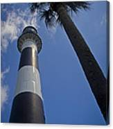 Cape Canaveral Lighthouse With Palm Tree Canvas Print