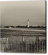 Cape May Light House In Sepia Canvas Print